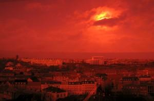 Ildevarslende lys over Århus