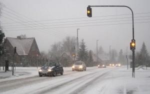 lyskryds trafik snestorm