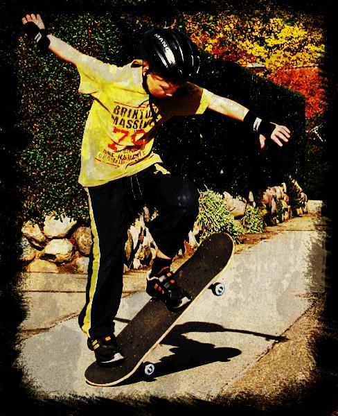 Skateboard grungy Ollie
